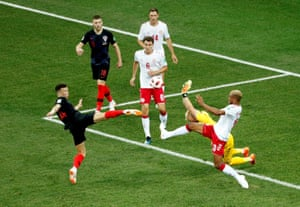 Perisic shoots over.