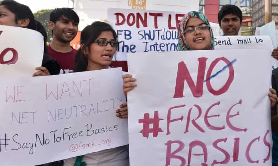 Demonstrators protest against Facebook's Free Basics initiative, in Bangalore, India, last year.