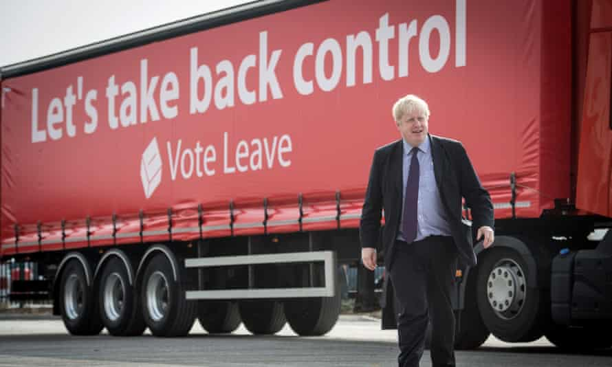 Boris Johnson during a Vote Leave campaign event in March 2016 at the Europa Worldwide freight company in Dartford, Kent.