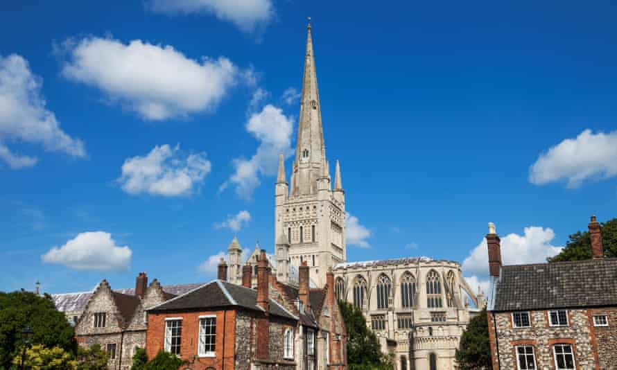 Low angle view of a cathedral, Norwich Cathedral, Norwich, Norfolk, East Anglia, England, UK.