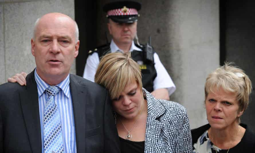 Milly's parents, Bob and Sally Dowler, and her sister Gemma outside court in 2011.