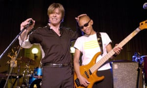 David Bowie and Gail Ann Dorsey at the Radio 2 studios in London in 2002.