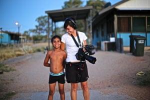 Director Maya Newell with Dujuan Hoosan.