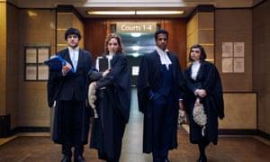 Defenders of justice: Caroline (Katherine Parkinson, second left), with, from left, Will (Will Sharpe), Ashley (Prasanna Puwanarajah) and Danielle (Gwyneth Keyworth).