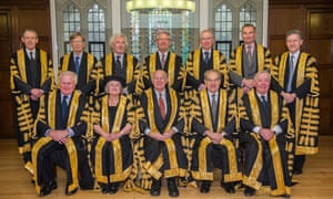 Supreme court judges 2016: Back row (left-right) Lord Toulson (now retired), Lord Carnwath, Lord Sumption, Lord Wilson, Lord Reed, Lord Hughes, Lord Hodge. Front row (left-right) Lord Kerr, Lady Hale, Lord Neuberger, Lord Mance, Lord Clarke