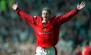 Ole Gunnar Solskjær celebrates scoring on his first start for Manchester United, a 4-1 win over Nottingham Forest in September 1996.