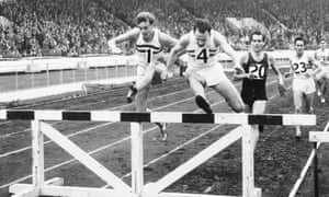 John Disley, Chris Brasher and  Eric Shirley leading a 3,000m steeplechase in White City, London in 1956.