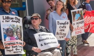 A protest outside Kentish Town Jobcentre, north London, about people who have died as a result of benefit cuts.