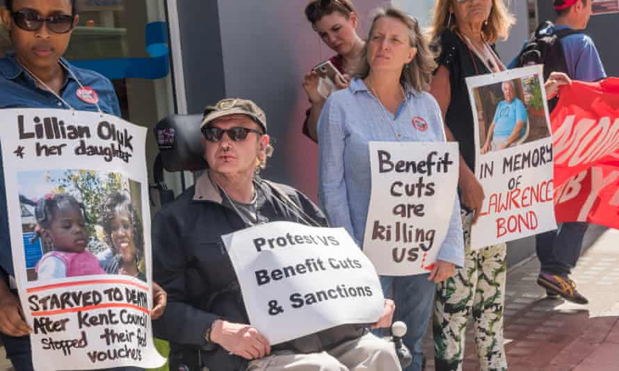 A protest in Kentish Town, north-west London, against benefit cuts and sanctions.