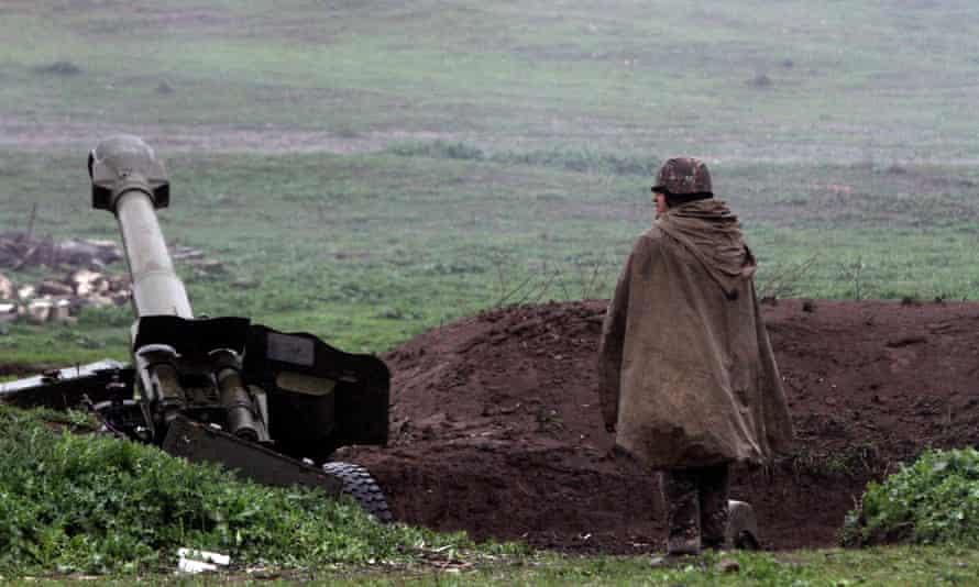 An Armenian artillery position  in Martakert, Nagorno-Karabakh.