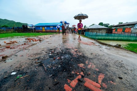 The spot where goods from shops were burned by Bangladeshi locals at Jadimura refugee camp in Teknaf