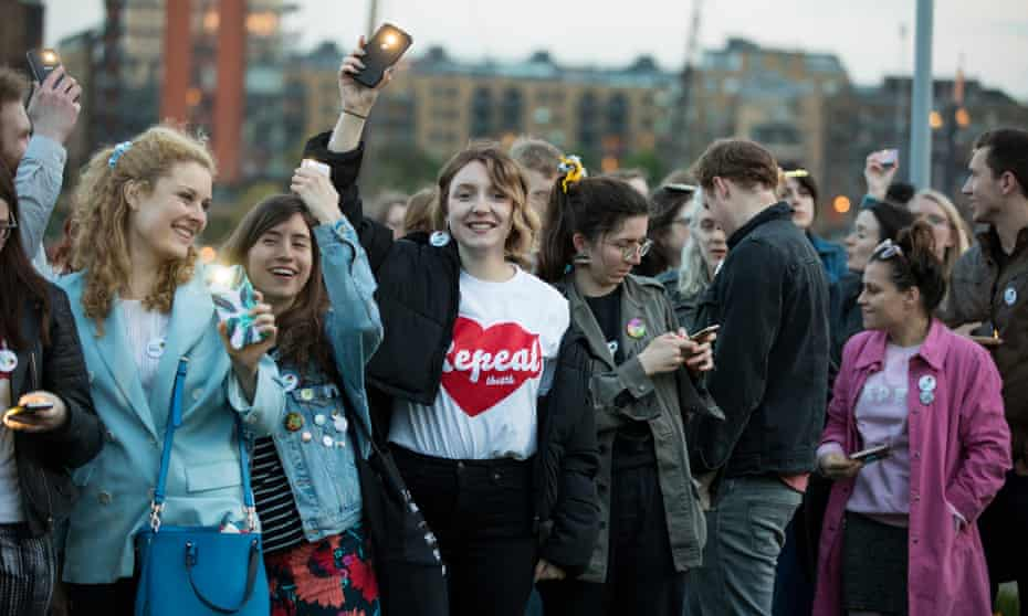 A group of young Irish people at a rally in support of the yes campaign in Wapping, east London