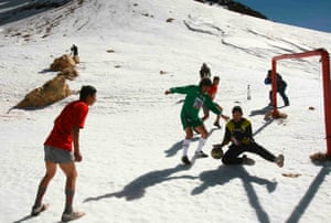 Evo Morales, in green shirt, plays football at the 6,000m snow-covered Sajama peak, the highest in Bolivia, during a match to protest against Fifa's ban on international matches at venues over 2,500m, in 2007.