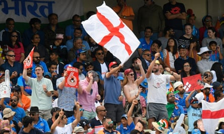 England fans celebrate during the win over India.
