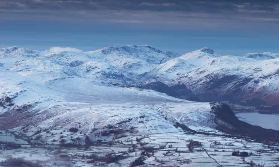 Looking across to England's highest summit, Scafell Pike, from Blencathra summit.
