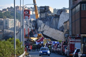The collapsed Morandi bridge in August last year.