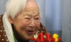 Misao Okawa celebrating her 115th birthday in 2013