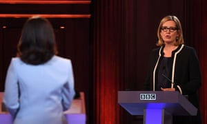 Home secretary Amber Rudd taking part in the BBC leaders' debate hoseted by Mishal Husain.