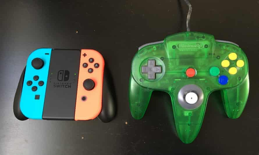 The Nintendo Switch Joy-Cons next to the N64's beast of a controller