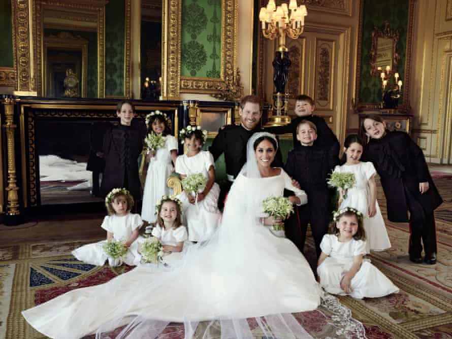 The Duke and Duchess of Sussex with their wedding entourage.