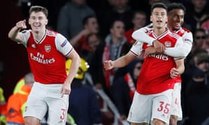 Arsenal's Gabriel Martinelli (second right) celebrates scoring their second goal with Reiss Nelson and Kieran Tierney.
