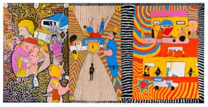 No Respect 2020 by John Prince Siddon. synthetic polymer paint on canvas. A finalist in the 2020 Natsiaa Indigenous art prize.
