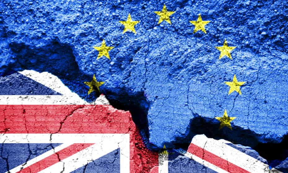 Flags of the United Kingdom and the European Union on cracked background