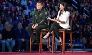 Dana Loesch and Sheriff Scott Israel during the CNN town hall meeting.