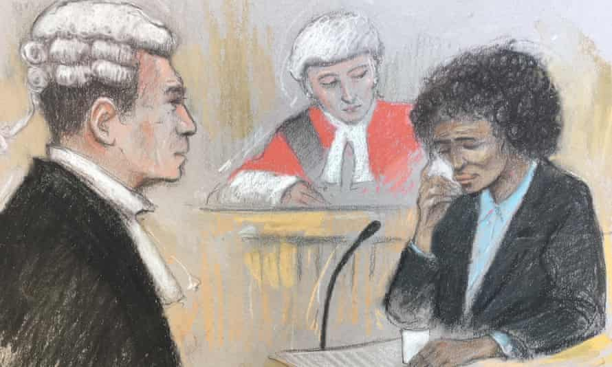 Sketch of Berlinah Wallace in the dock at Bristol crown court