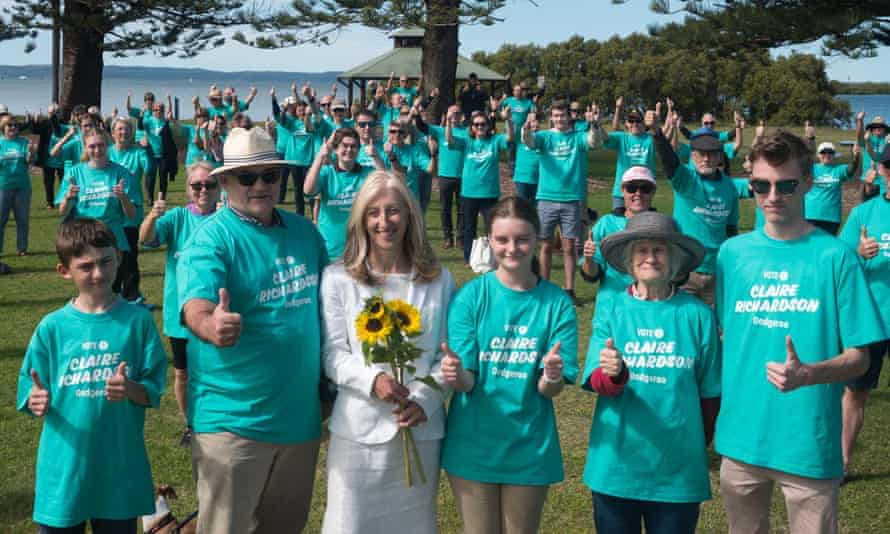 Claire Richardson, an independent candidate for Oodgeroo, with supporters
