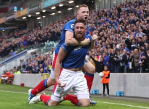 Mark Stafford celebrates scoring the equaliser for Linfield.