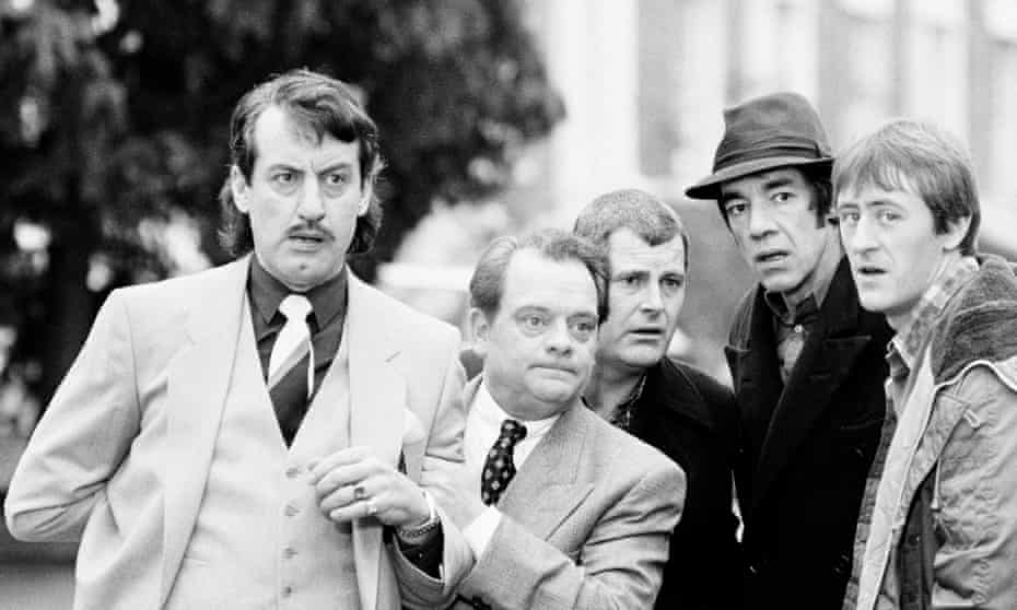 John Challis, left, as Boycie with other cast members of Only Fools and Horses. From left: David Jason as Del Boy Trotter, Kenneth MacDonald as Mike the barman, Roger Lloyd-Pack as Trigger and Nicholas Lyndhurst as Rodney Trotter.