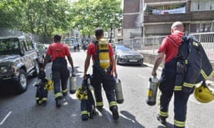 A fire crew arriving the the scene of the Grenfell Tower blaze