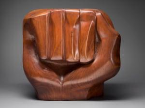Black Unity, 1968, a sculpture by Elizabeth Catlett.