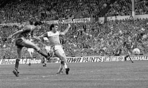 Liverpool's Ian Rush scores their third goal against Everton.