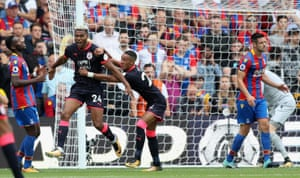 Huddersfield's Steve Mounié celebrates the first of his goals at Palace.