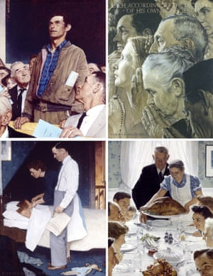 A composite of Norman Rockwell's Four Freedoms, on display at the New York Historical Society Museum.