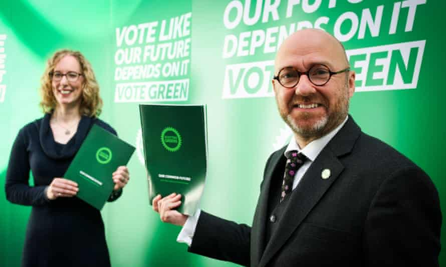 Scottish Greens co-leaders Patrick Harvie and Lorna Slater at the launch of the party's election manifesto  in Glasgow