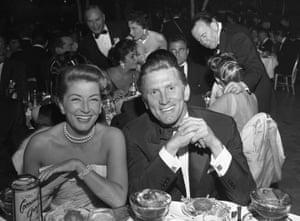 Kirk and Anne Douglas at Golden Globe awardsin 1957.