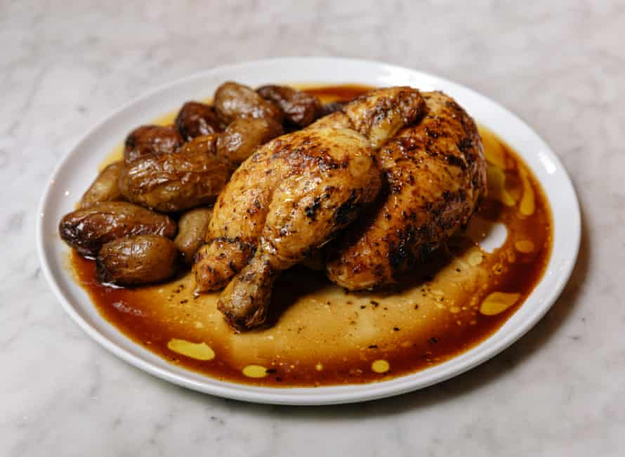 The half-chicken with dripping potatoes at Royale, London E3: 'Simple, non-fussy, French cuisine à la bonne femme.'