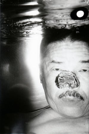 Fukase's self-portraits can be as unsettling as well as amusing. This is from his final series, Bukubuku (Bubbling), in which he took 79 self-portraits in his bathtub with a waterproof camera