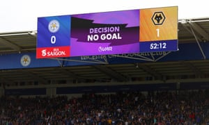 The VAR decision ruling out Leander Dendoncker's goal flashes up to the delight of Leicester City fans.