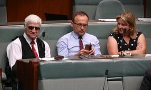 Bob Katter, Adam Bandt and Rebekha Sharkie during a division in the House of Representatives this morning. Thursday 8 February 2018.