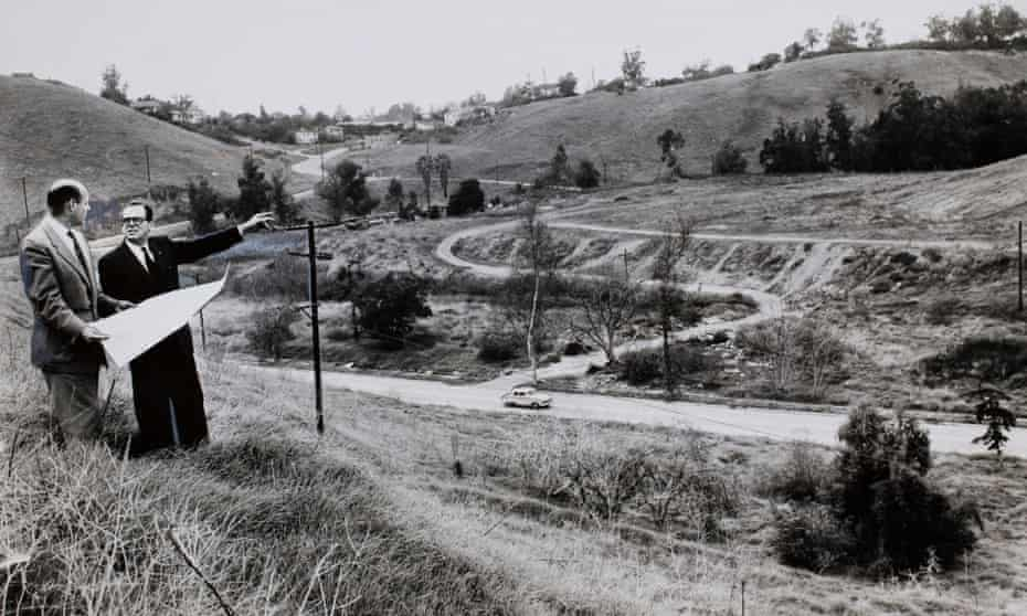 Norris Poulson (right) and Bob Hunter (left) survey Chavez Ravine in 1957