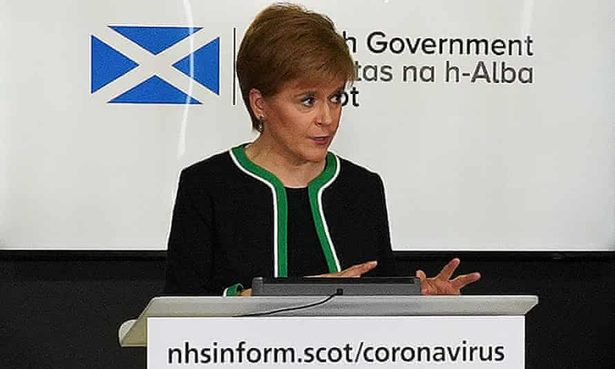 The first minister, Nicola Sturgeon, speaks during the Scottish government's daily briefing on Covid-19