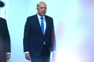 Peter Dutton makes his way to the Liberal party room on Friday where he was defeated by Scott Morrison in his attempt to become leader.