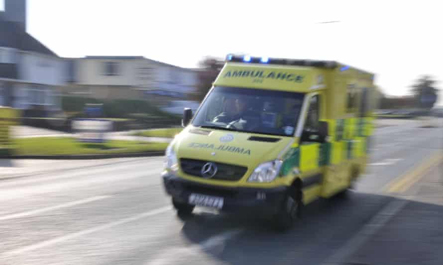 An ambulance on an emergency call