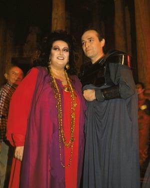 Montserrat Caballé and Jose Carreras in the Roman Theatre of Mérida after a performance of Luigi Cherubini's opera Medea in 1989
