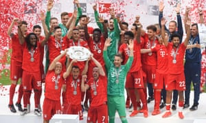 Bayern Munich' celebrate winning the Bundesliga. The triumph means for the first time in history, the league title in each of Europe's big five leagues has been retained