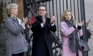 Artur Mas and the other defendants – Irene Rigau, left, and Joana Ortega – in Barcelona